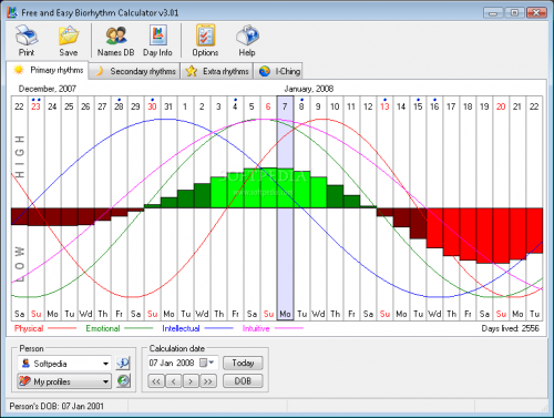 Free and Easy Biorhythm Calculator 2.0 - Download 2.0