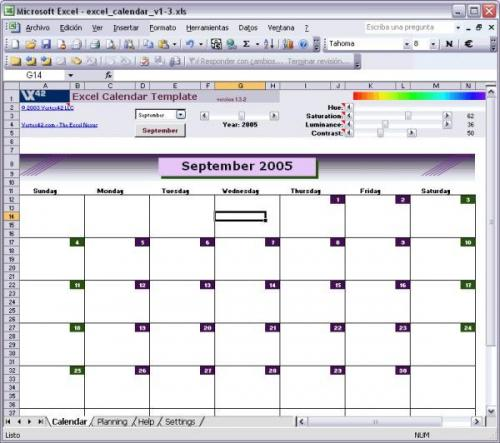 Excel Calendar Template - Download 1.3.2